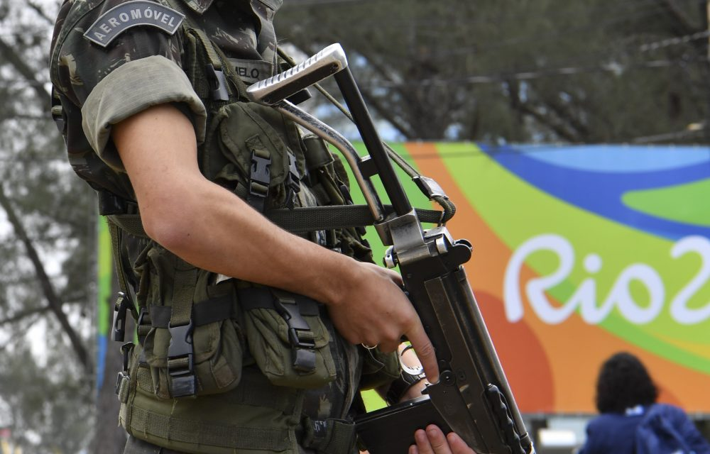 A Brasilian soldier stands guard near the Riocentro complex in Rio de Janeiro, on Aug. 3, 2016, ahead of the Rio 2016 Olympic Games. (Yuri Cortez/AFP/Getty Images)