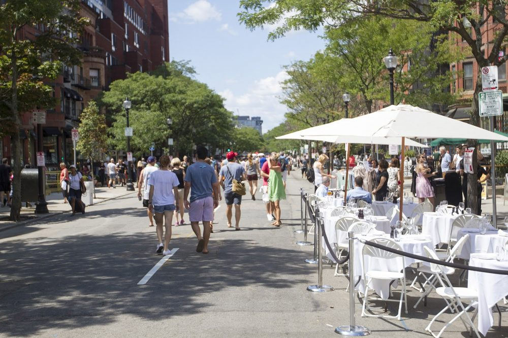 The city of Boston shut down Newbury Street to cars on Sunday for an event called Open Newbury Street. (Joe Difazio for WBUR)