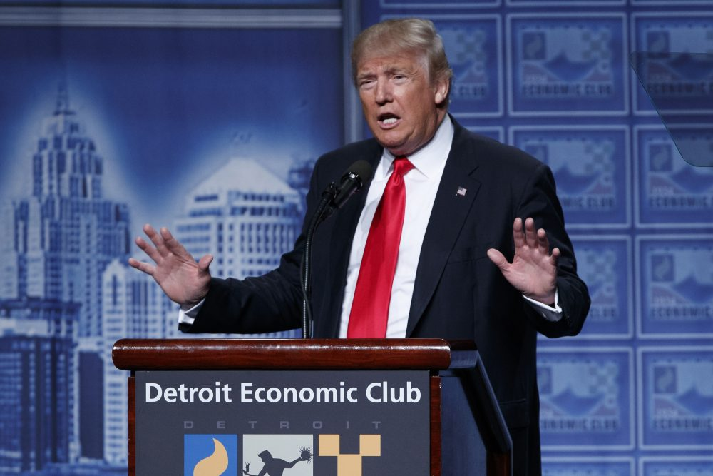 Republican presidential candidate Donald Trump delivers an economic policy speech to the Detroit Economic Club, Monday, Aug. 8, 2016, in Detroit. (Evan Vucci/AP)