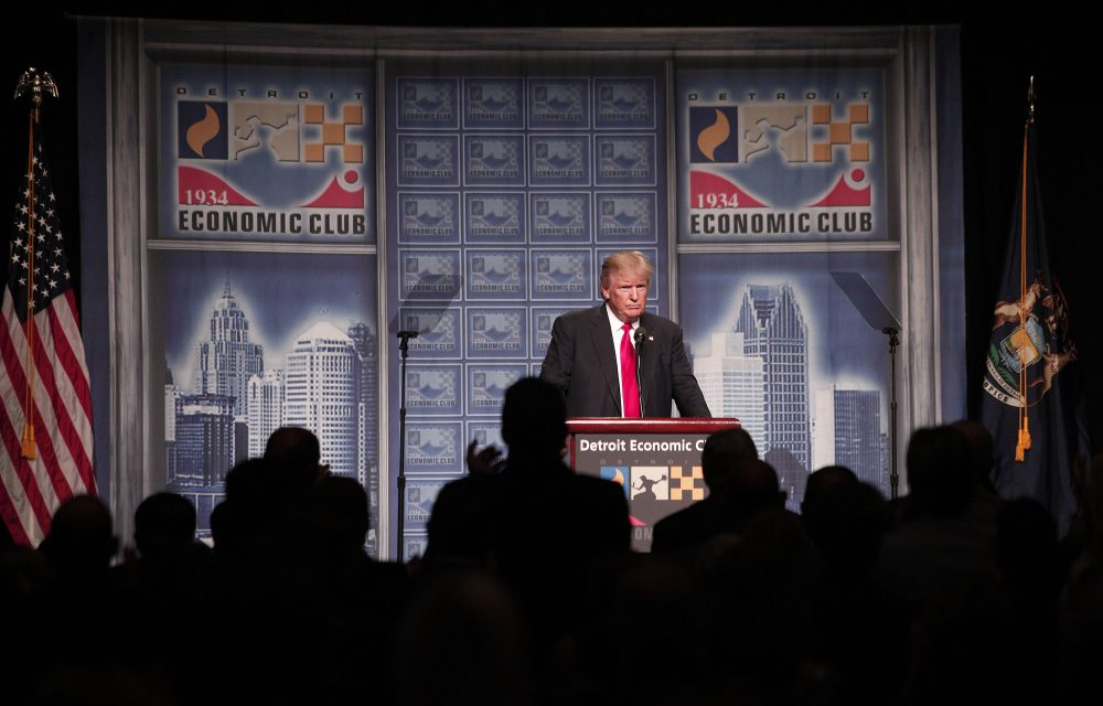 Republican presidential candidate Donald Trump delivers an economic policy address detailing his economic plan at the Detroit Economic Club on Aug. 8, 2016 in Detroit. (Bill Pugliano/Getty Images)