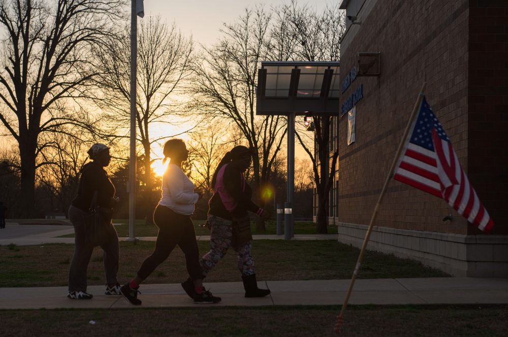 Voters arrive to cast their vote during Missouri primary voting at Johnson-Wabash Elementary School on March 15, 2016 in Ferguson, Missouri. (Michael B. Thomas/AFP/Getty Images)