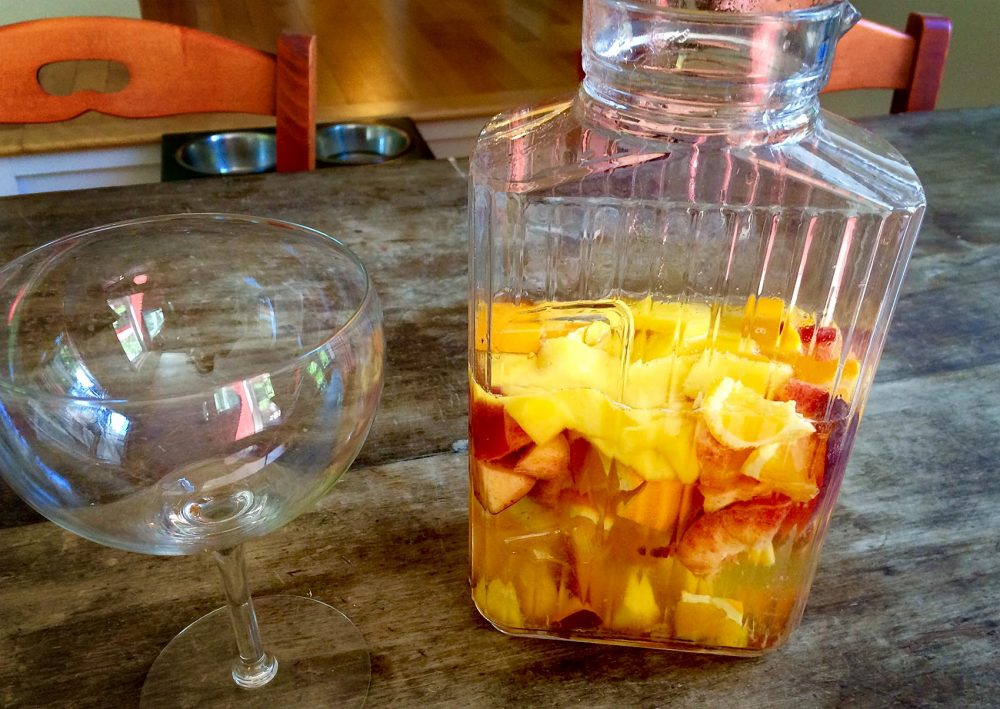 Kathy's white summer fruit sangria. (Kathy Gunst for Here & Now)