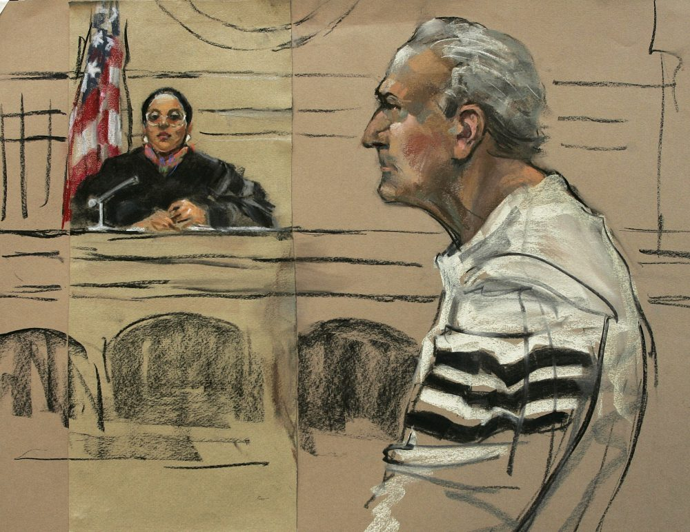 "This is a courtroom artist's depiction of former New England Mafia boss Francis P. ""Cadillac Frank"" Salemme, 71, appearing before Judge Joyce Alexander in federal court in Boston in 2004. (Constance Flavell Pratt/AP)"