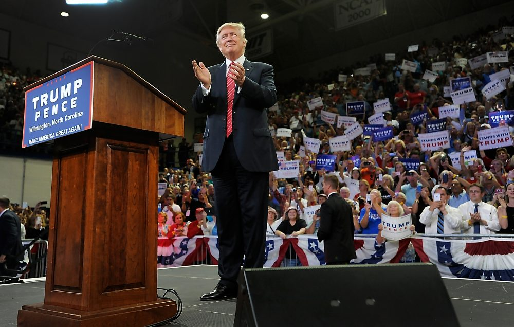 Republican presidential candidate Donald Trump claps with the audience during a campaign event at Trask Coliseum on Aug. 9, 2016 in Wilmington, North Carolina. (Sara D. Davis/Getty Images)