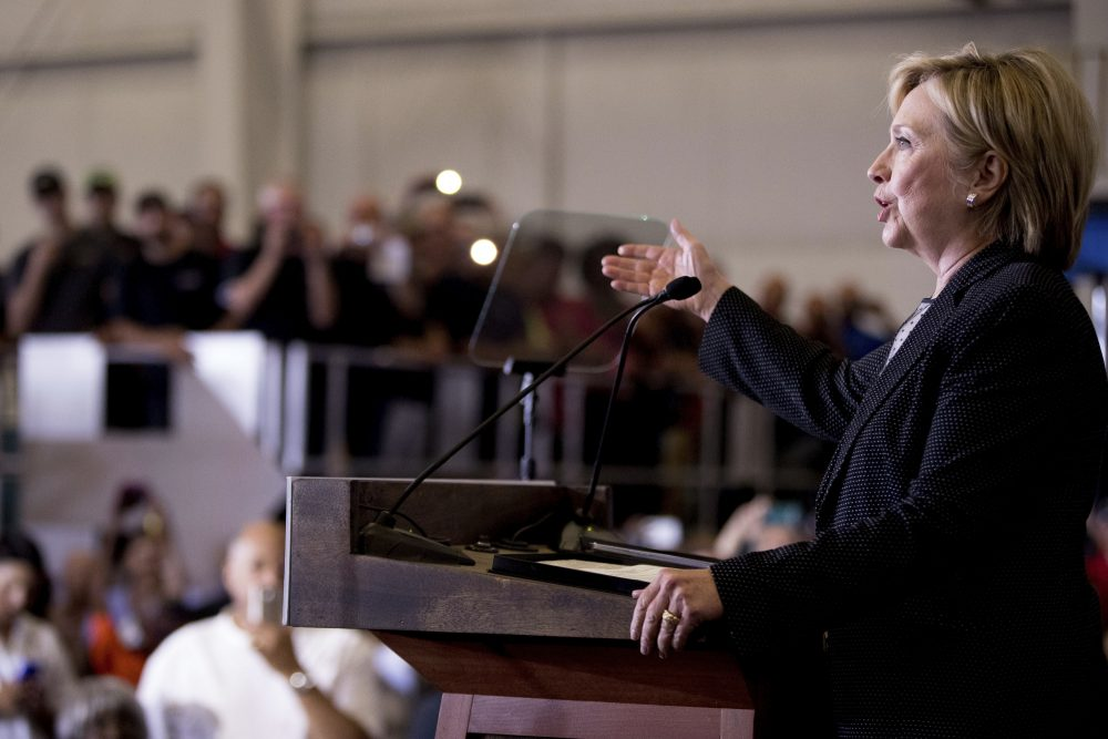 Democratic presidential candidate Hillary Clinton gives a speech on the economy after touring Futuramic Tool & Engineering, in Warren, Michigan on Thursday, Aug. 11, 2016. (Andrew Harnik/AP)