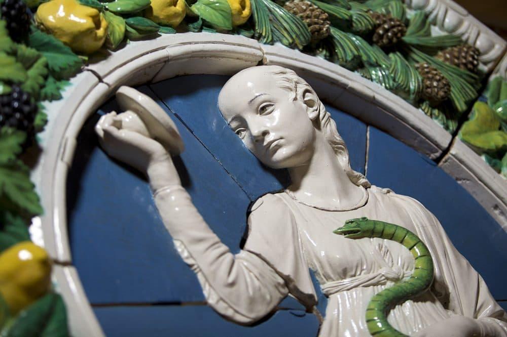 A detail of Andrea Della Robbia's Prudence, 1476 glazed terracotta, prior to it's installation. (Jesse Costa/WBUR)