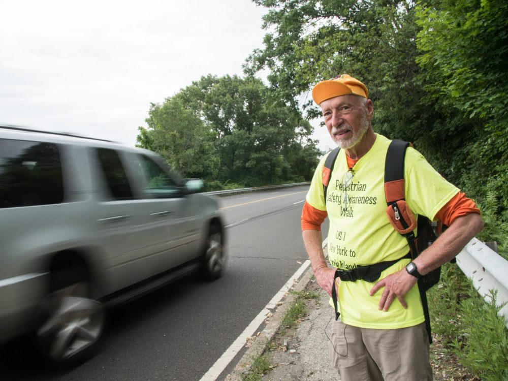 Earlier this summer, Ray Rauth walked the entire coastline of Connecticut to draw attention to the dangers of the Post Road. (Ryan Caron King/WNPR)