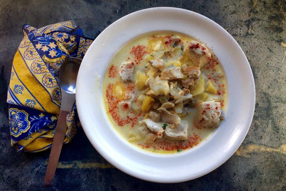 Kathy's summer clam and fish chowder. (Kathy Gunst for Here & Now)