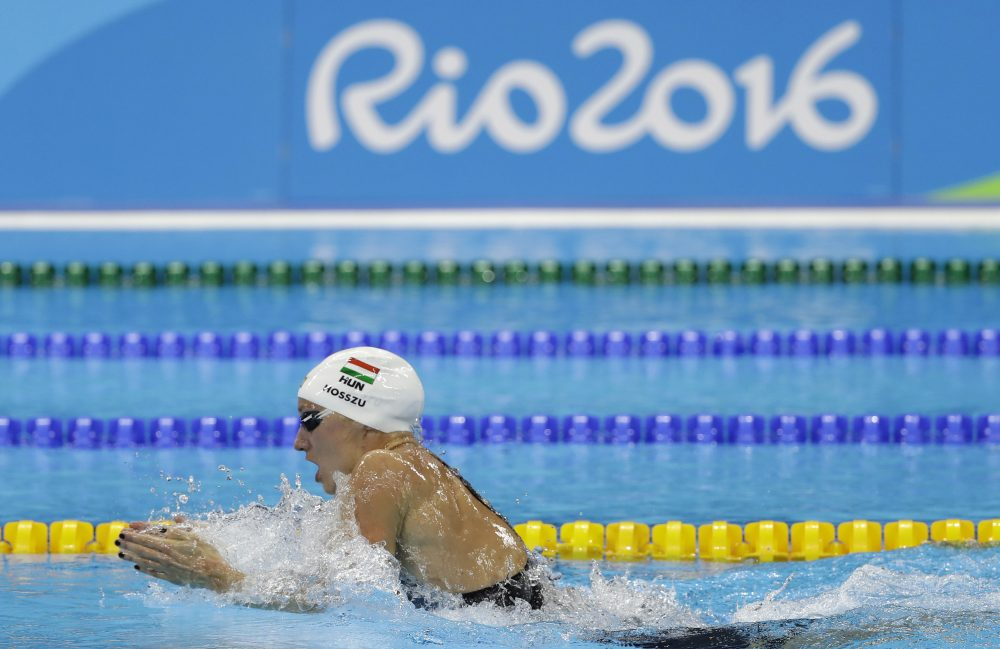 Hungary's Katinka Hosszu competes in a semifinal of the women's 200-meter individual medley during the swimming competitions at the 2016 Summer Olympics, Monday, Aug. 8, 2016, in Rio de Janeiro, Brazil. (Matt Slocum/AP)