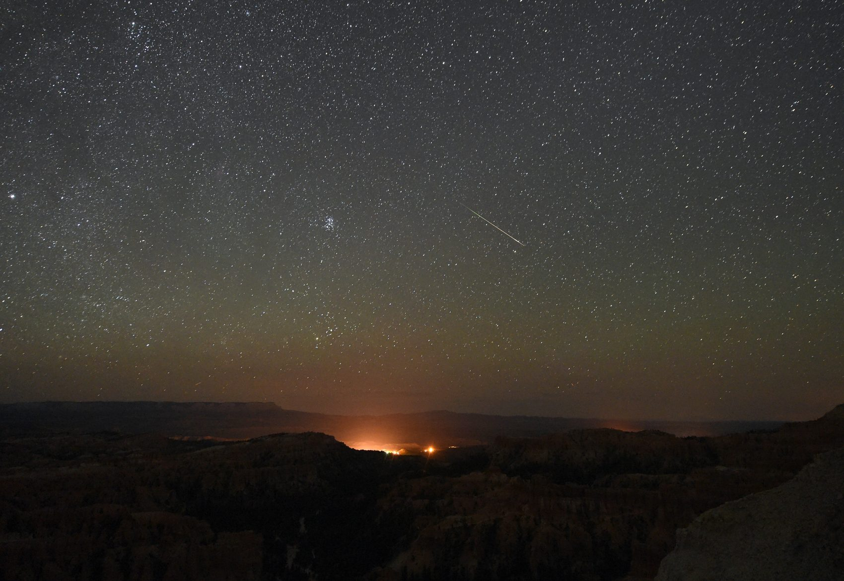 A Perseid meteor streaks across the sky above Inspiration Point early on August 12, 2016 in Bryce Canyon National Park, Utah. (Ethan Miller/Getty Images)