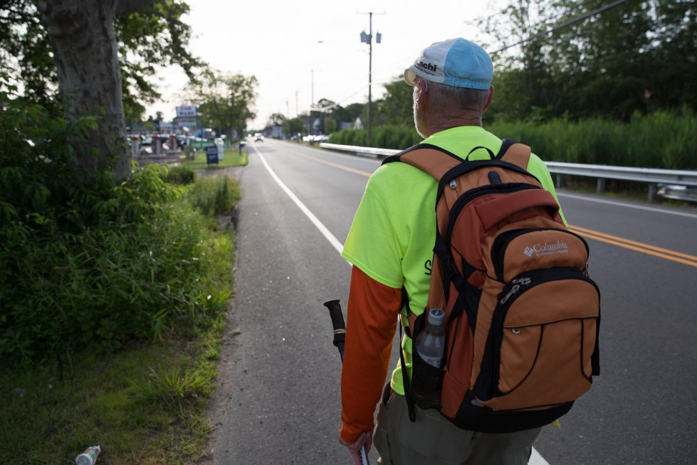 This summer, Ray Rauth walked the entire coastline of Connecticut along U.S. 1 to draw attention to the dangers of the road for pedestrians. (Ryan Caron King/WNPR)