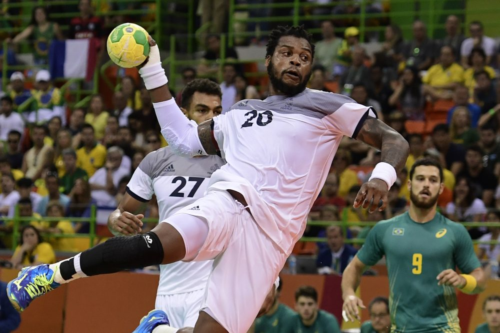 France's pivot Cedric Sorhaindo jumps to shoot during the men's quarterfinal handball match Brazil vs France for the Rio 2016 Olympics Games in Rio on Aug. 17, 2016. (Javier Soriano/AFP/Getty Images)