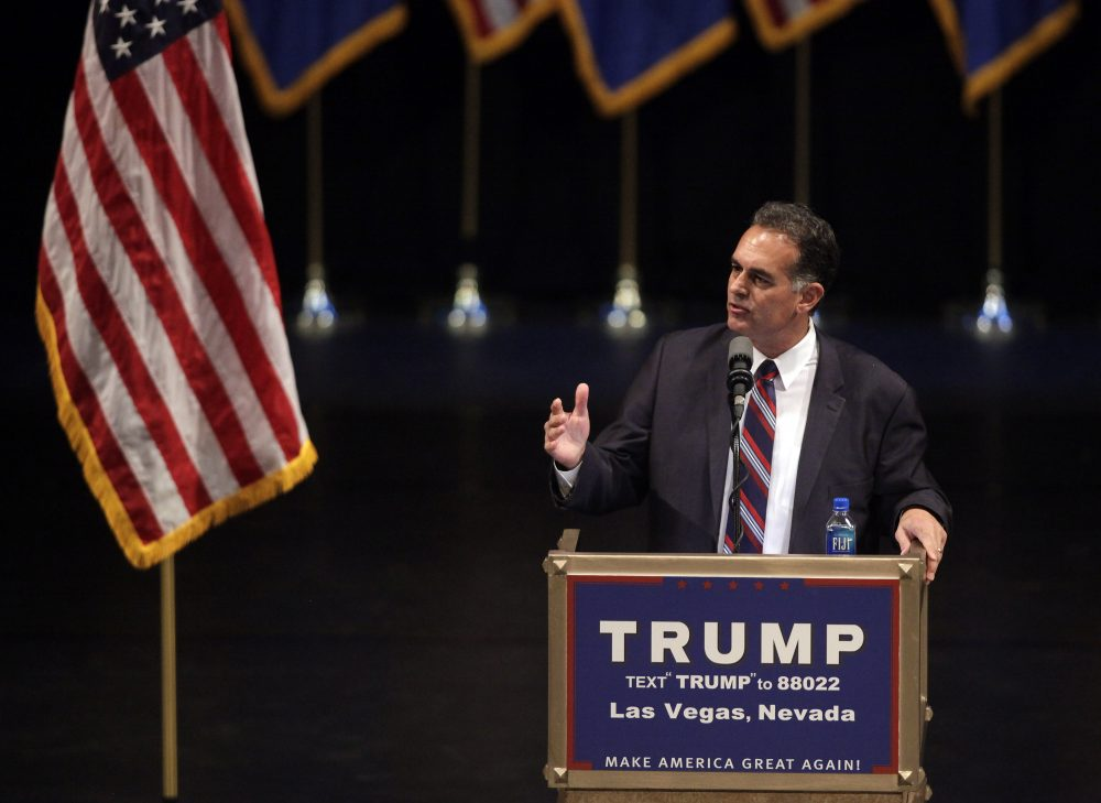 Republican congressional candidate Danny Tarkanian speaks during a rally for Republican presidential candidate Donald Trump at the Treasure Island Hotel in Las Vegas, Nevada, on June, 18, 2016. (John Gurzinski/AFP/Getty Images)