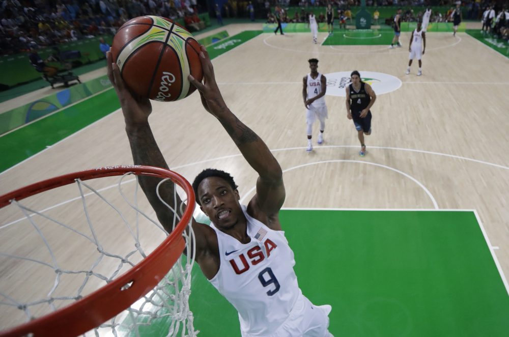 Team USA guard DeMar DeRozan scores during a Men's quarterfinal basketball match between the U.S. and Argentina in Rio de Janeiro on Aug. 17, 2016 during the Rio 2016 Olympic Games. (Eric Gay/AFP/Getty Images)