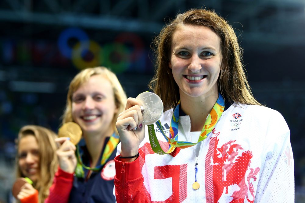 Jazz Carlin of Great Britain was pleased with her silver medal win in the women's 800m freestyle final. (Clive Rose/Getty Images)