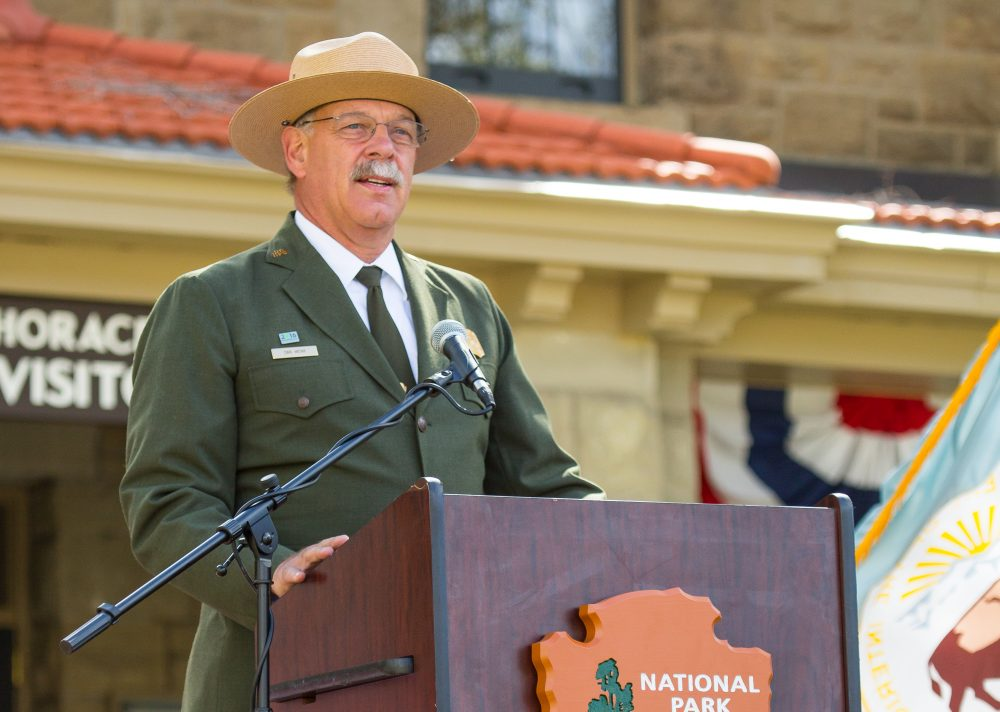 Yellowstone National Park Superintendent Dan Wenk, speaking at the park's Albright Visitor Center. (Courtesy Neal Herbert/National Park Service via Flickr)