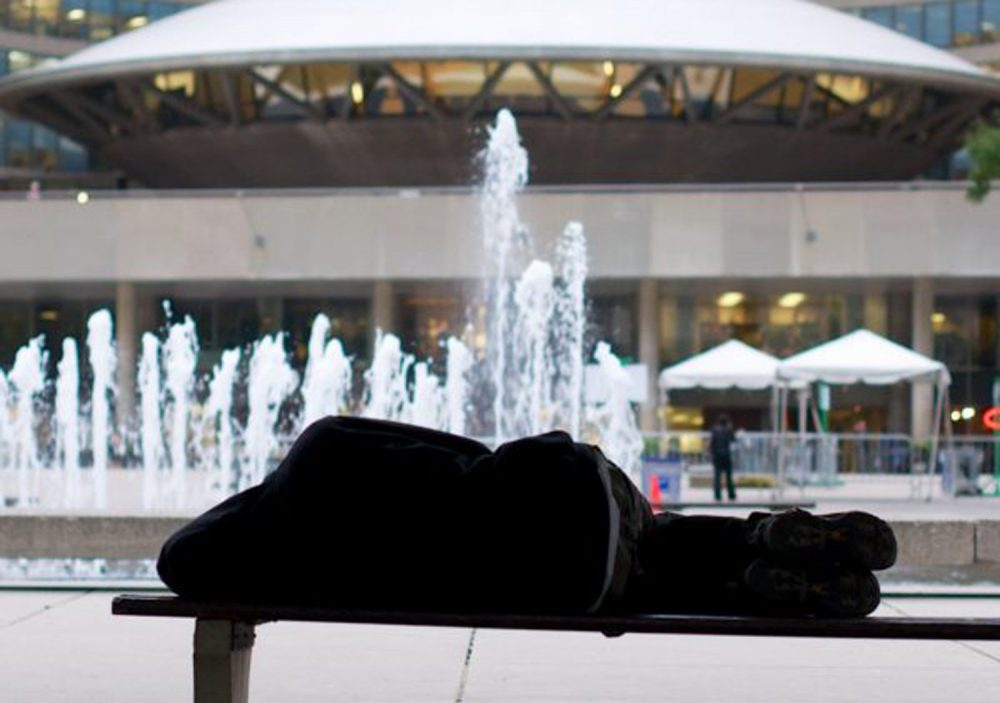Curtis Bishop spent many nights on this bench near Toronto City Hall. (Courtesy of Lincoln Clarkes)