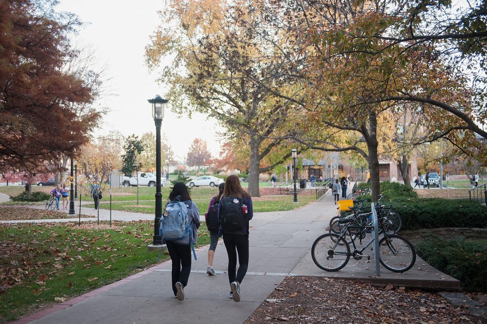 Students walk along on the campus of University of Missouri-Columbia on Nov. 10, 2015 in Columbia, Missouri. (Michael B. Thomas/Getty Images)
