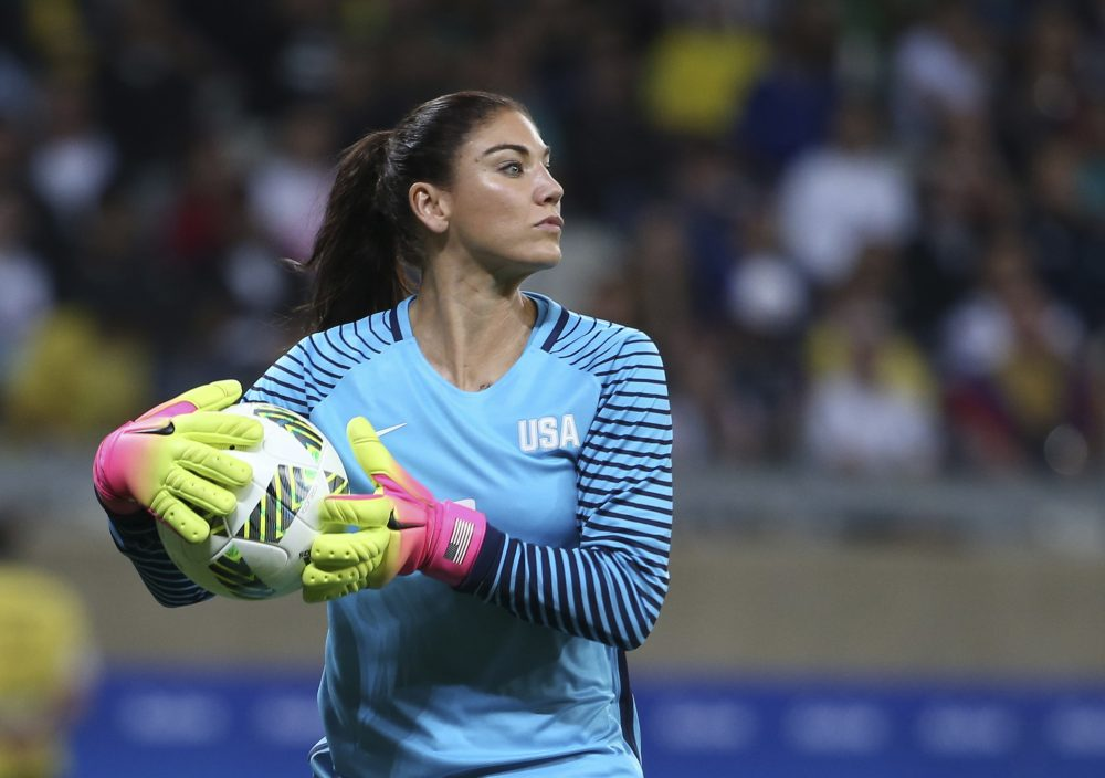 375b0033a U.S. goalkeeper Hope Solo during a women s Olympic football tournament  match against New Zealand. (