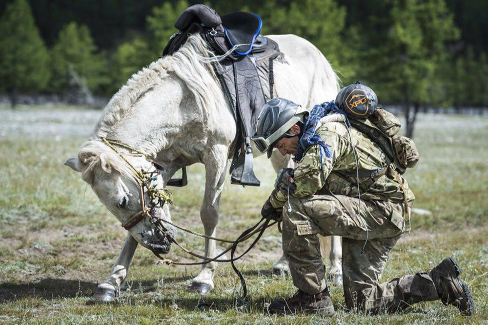 U.S. Air Force Capt. Tim Finley after crossing the Mongol Derby finish line. (Courtesy Richard Dunwoody)