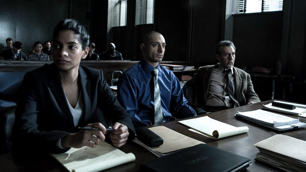 "Actors (left to right) Amara Karan, Riz Ahmed and John Turturro in a still from the HBO mini-series ""The Night Of."" (Courtesy HBO)"