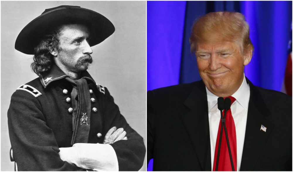 An image of Gen. George Custer around 1876 paired with a photo of Donald Trump on the campaign trail in February. (AP Photos)