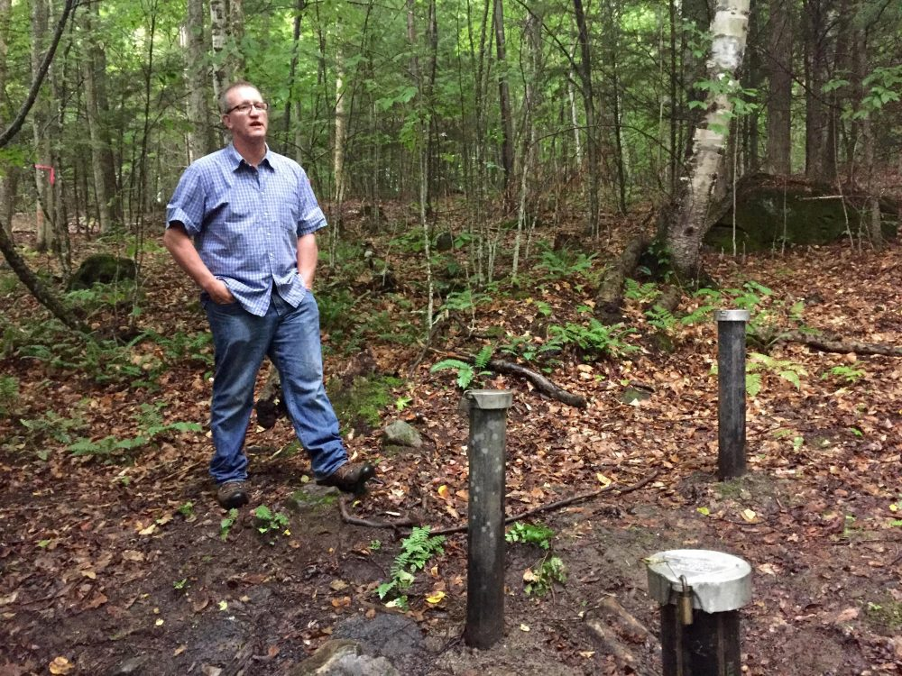 Hanover resident Richard Higgins stands near a well 375 feet away from his property, where groundwater tests have shown hundreds of times the New Hampshire state-alloted amount of the chemical 1,4-dioxane, a suspected carcinogen. (Rebecca Sananes/VPR)