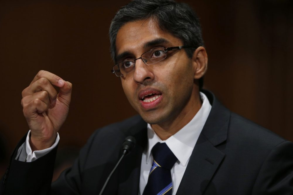 Pictured here in 2014, Dr. Vivek Murthy testifies on Capitol Hill about his nomination in 2014. Surgeon General Murthy is now sending a letter to millions of clinicians asking them to help curb the abuse of opioid painkillers. (Charles Dharapak/AP)