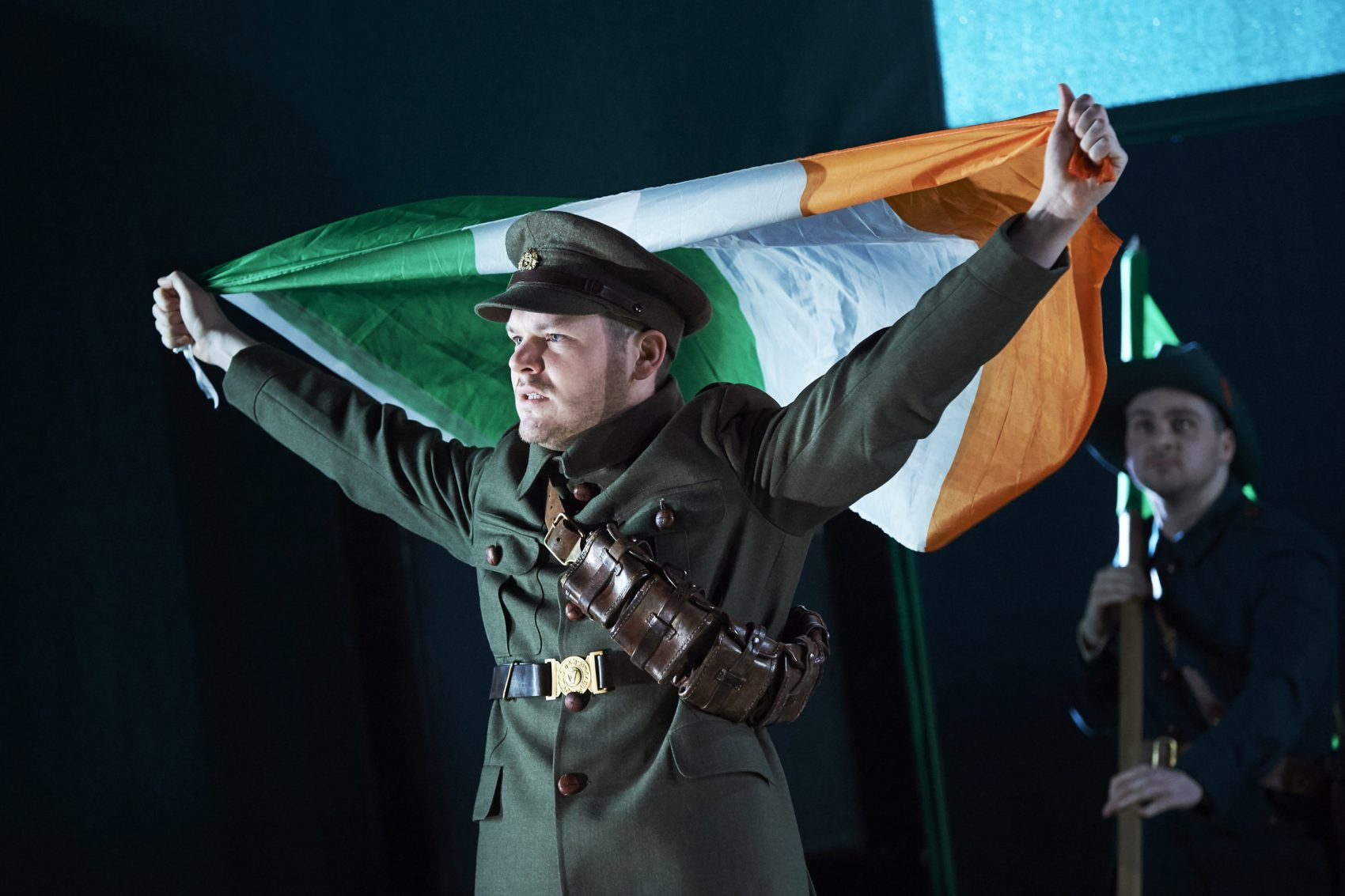 """Lloyd Cooney (Lt. Langon) and Liam Heslin (Capt. Brennan) in """"The Plough and the Stars"""" by Sean O'Casey, directed by Sean Holmes. (Courtesy of American Repertory Theater)"""