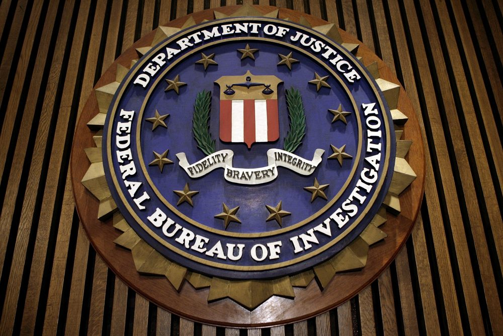The seal of the FBI hangs in the Flag Room at the bureau's headquarters in Washington D.C. (Chip Somodevilla/Getty Images)