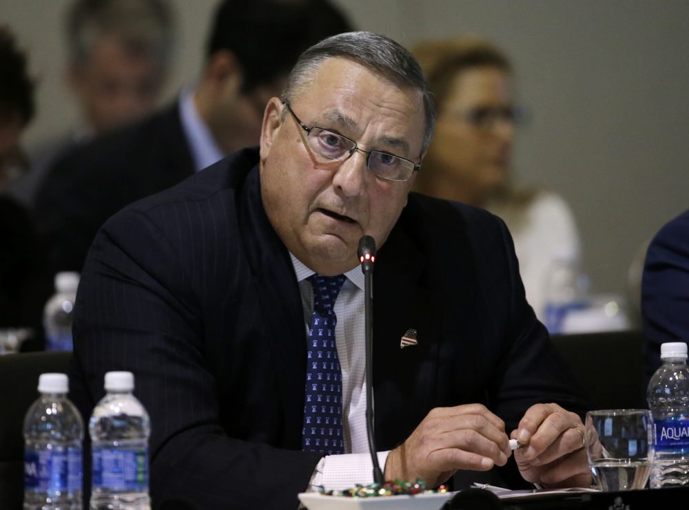 Maine Gov. Paul LePage speaks during a conference of New England's governors and eastern Canada's premiers to discuss closer regional collaboration, August 2016 in Boston. (Elise Amendola/AP)