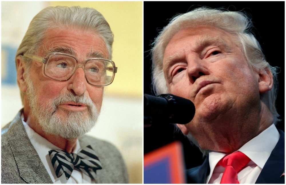 L-R: American author, artist and publisher Theodor Seuss Geisel, known as Dr. Seuss, pictured in 1987; Republican presidential candidate, Donald Trump, pictured in 2016. (Both images/AP)