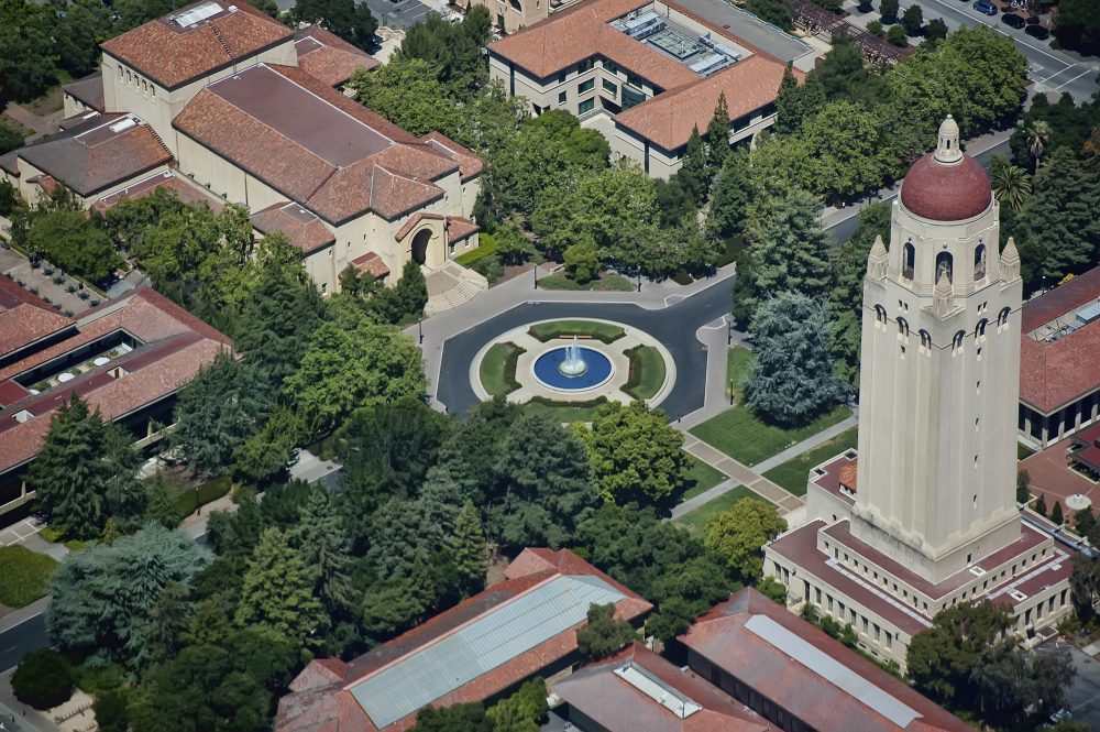 An aerial view of the Stanford University campus in Stanford, California. (michaelestigoy/Flickr)
