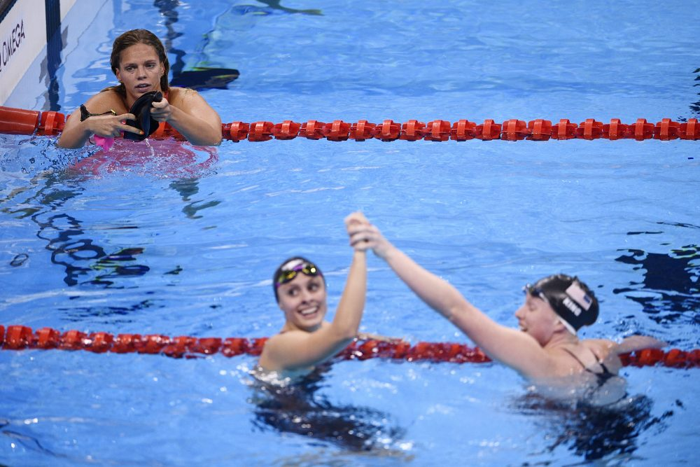 LIlly King (right) did not hold back in her condemnation of Yulia Efimova (left). (Martin Bureau/AFP/Getty Images)