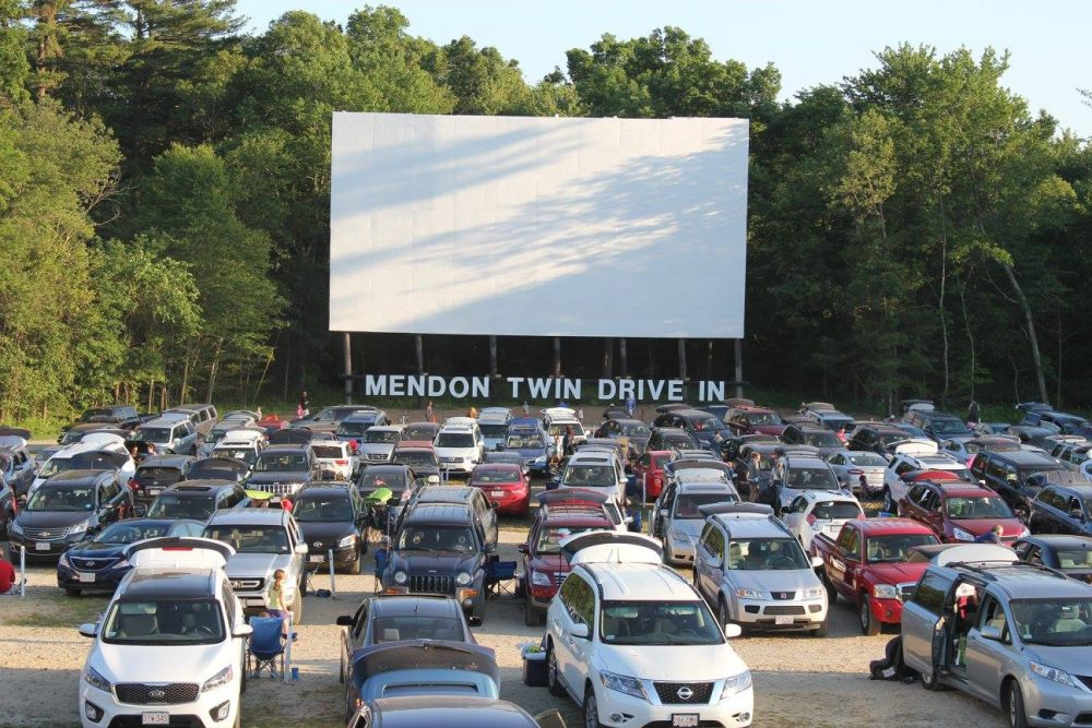 Cars waiting for a movie at the Mendon Twin Drive-In. (Courtesy Mendon Twin Drive-In)