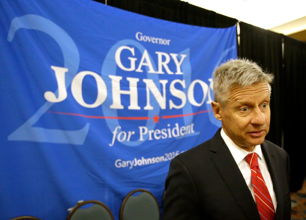 Libertarian presidential candidate Gary Johnson speaks to supporters and delegates at the National Libertarian Party Convention on Friday, May 27, 2016, in Orlando, Fla. (John Raoux/AP)