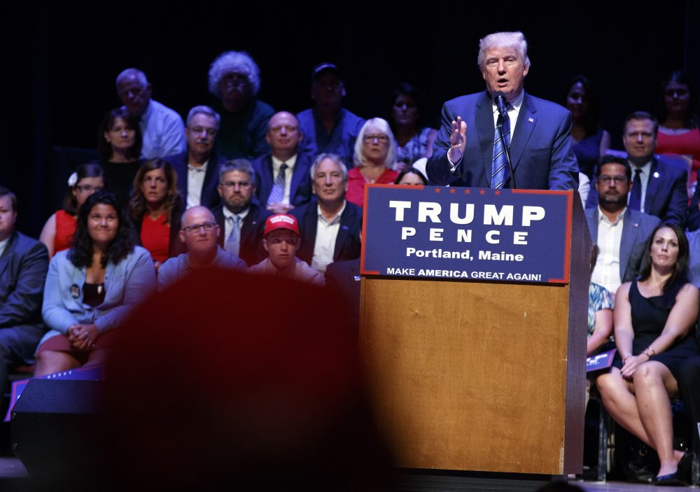 Republican presidential candidate Donald Trump speaks at a rally in Portland, Maine, on Monday. (Evan Vucci/AP)