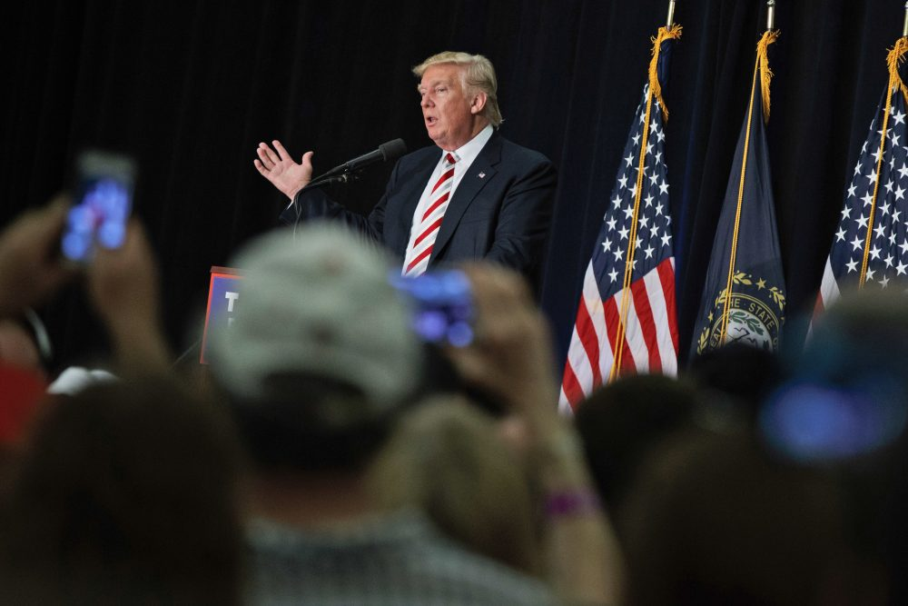 Donald Trump has done few traditional New Hampshire-style campaign events. Instead, he's counted on big rallies and free media coverage -- as he did Saturday in Windham. (Evan Vucci/AP)
