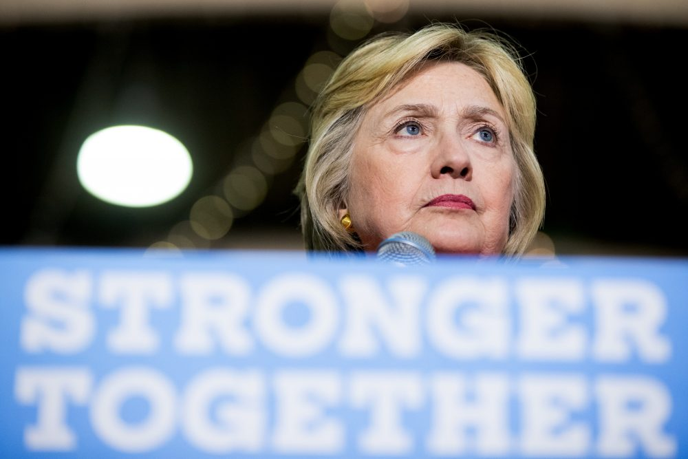 Democratic presidential candidate Hillary Clinton pauses while speaking at a rally in St. Petersburg, Florida, on Monday. (Andrew Harnik/AP)