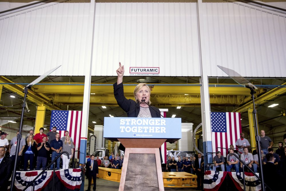 Democratic presidential candidate Hillary Clinton gives a speech on the economy after touring Futuramic Tool & Engineering, in Warren, Michigan on Thursday. (Andrew Harnik/AP)