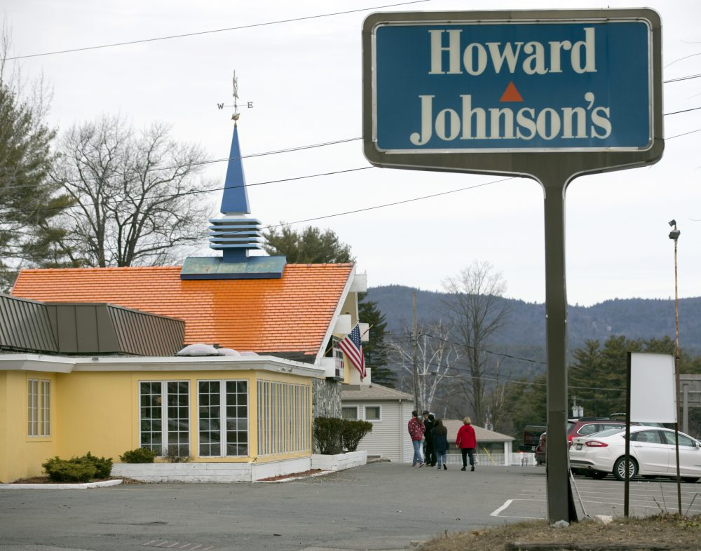 In this April 8 file photo, customers walk into Howard Johnson's Restaurant in Lake George, N.Y. When a Bangor, Maine, location closes, this will be the only HoJos left.  (Mike Groll/AP)