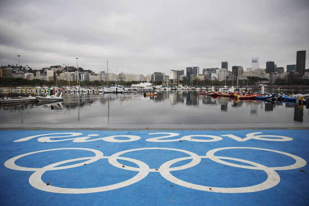 The Olympic rings decorate a launching dock at the sailing venue in Rio de Janeiro, Brazil. (David Goldman/AP)