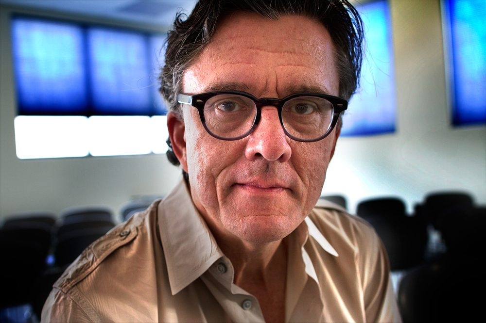 Author and public radio host Kurt Andersen stopped by Here & Now studios at WBUR in Boston back in 2012. (Jesse Costa/Here & Now)