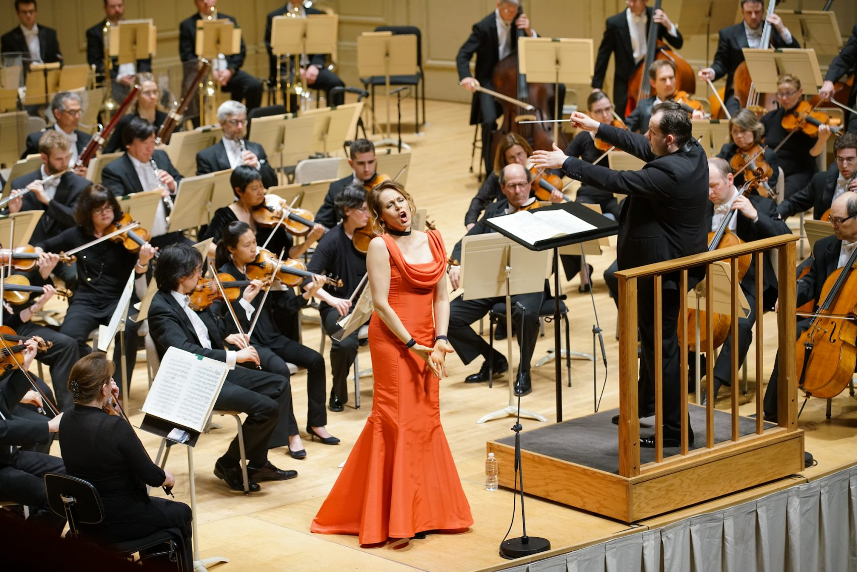 Christine Opolais and Andris Nelsons with the Boston Symphony Orchestra. (Michael Blanchard)