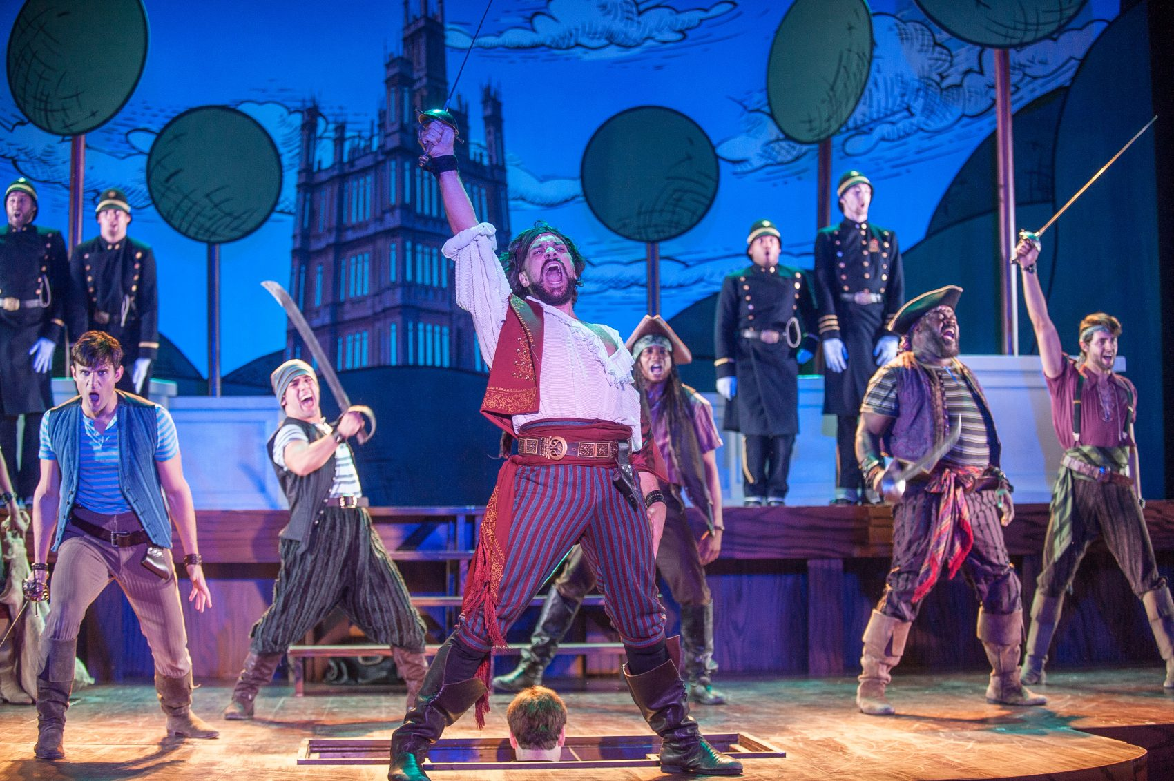 "Will Swenson (center) and the ensemble of ""Pirates of Penzance."" (Courtesy Kevin Sprague/Barrington Stage Company)"