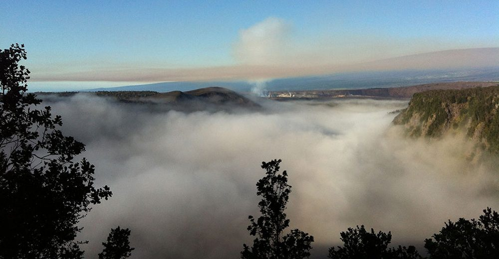 Fog in Kīlauea Iki Crater with Halema'uma'u in the background on Hawaii. (Courtesy M. Stanley/NPS)