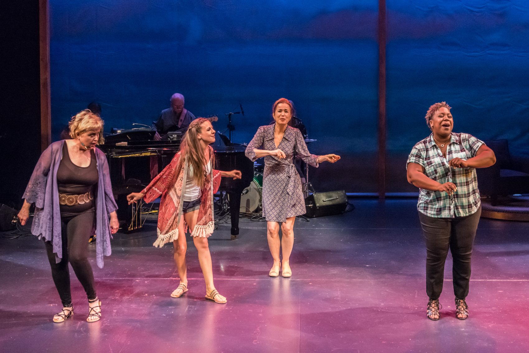 "Sally Mayes, Charity Farrell, Michelle Duffy and Lacretta in ""Unexpected Joy"" at Wellfleet Harbor Actors Theater. (Courtesy of Michael and Suz Karchmer)"