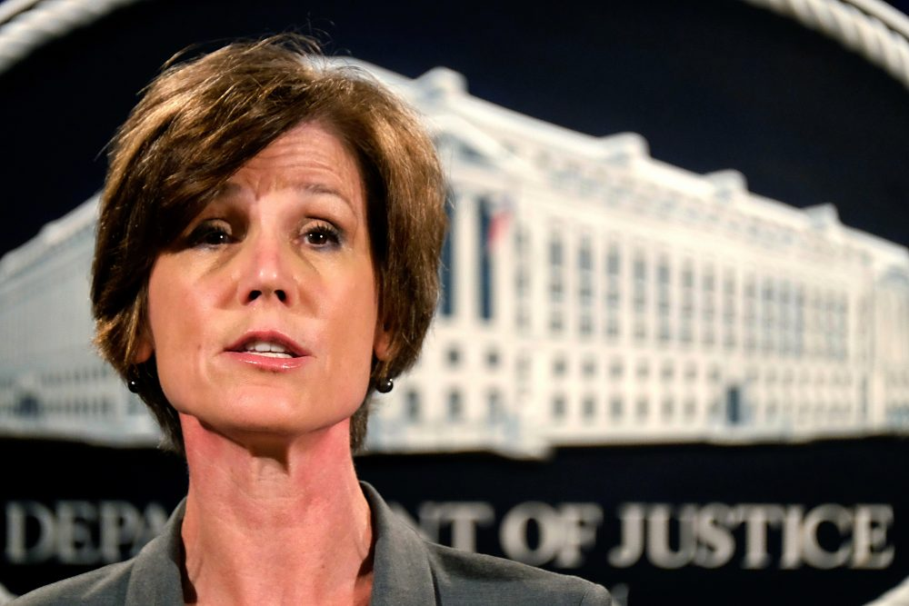Deputy Attorney General Sally Yates speaks during a news conference at the Justice Department in June. (J. David Ake/ AP File)