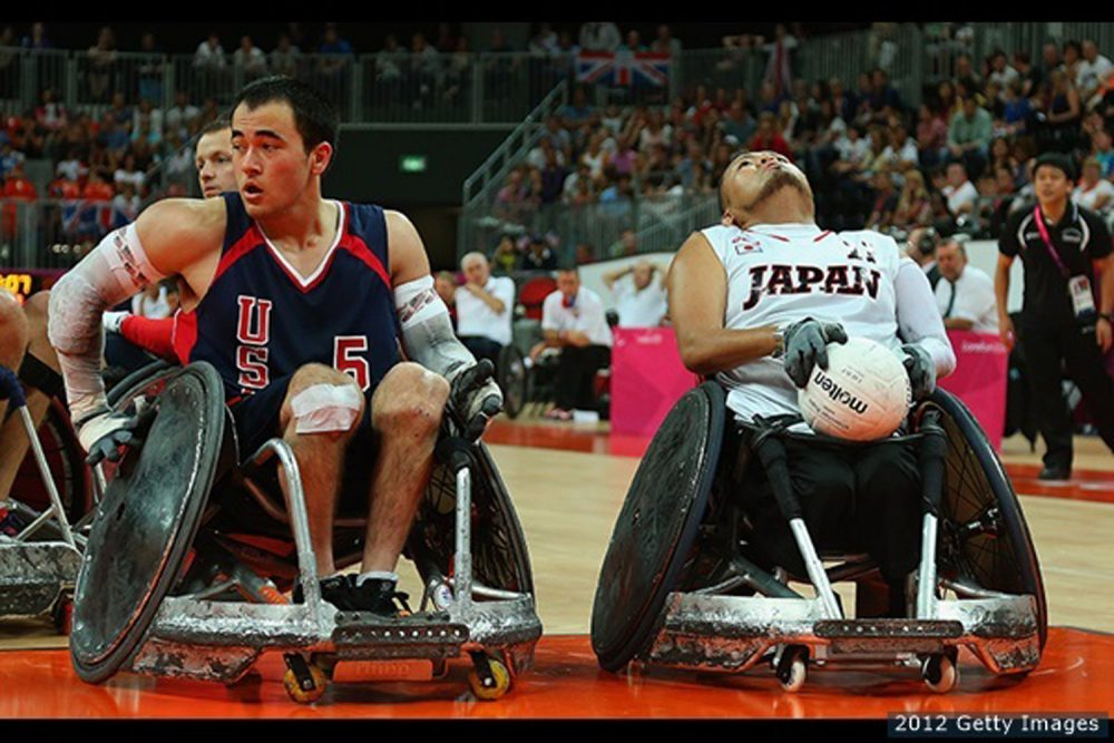 Chuck Aoki #5 of the United States and Shin Nakazato #11 of Japan in action during the Bronze Medal match of Mixed Wheelchair Rugby on day 11 of the London 2012 Paralympic Games at Basketball Arena on September 9, 2012 in London, England. (Mike Ehrmann/Getty)