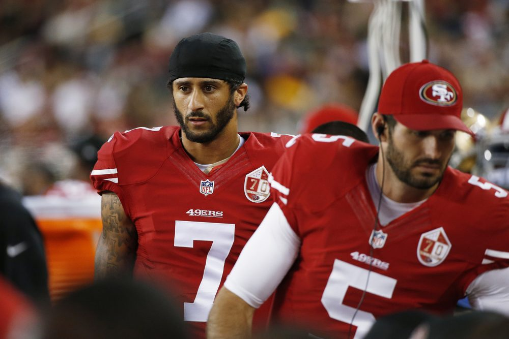 San Francisco 49ers quarterback Colin Kaepernick on the sidelines during the first half of an NFL preseason football game against the Green Bay Packers Friday, Aug. 26, 2016, in Santa Clara, Calif. (Tony Avelar/AP)